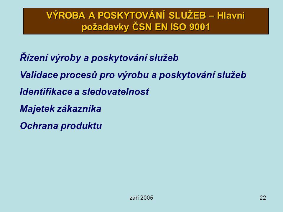 září 200522 VÝROBA A POSKYTOVÁNÍ SLUŽEB – Hlavní požadavky ČSN EN ISO 9001 Řízení výroby a poskytování služeb Validace procesů pro výrobu a poskytován