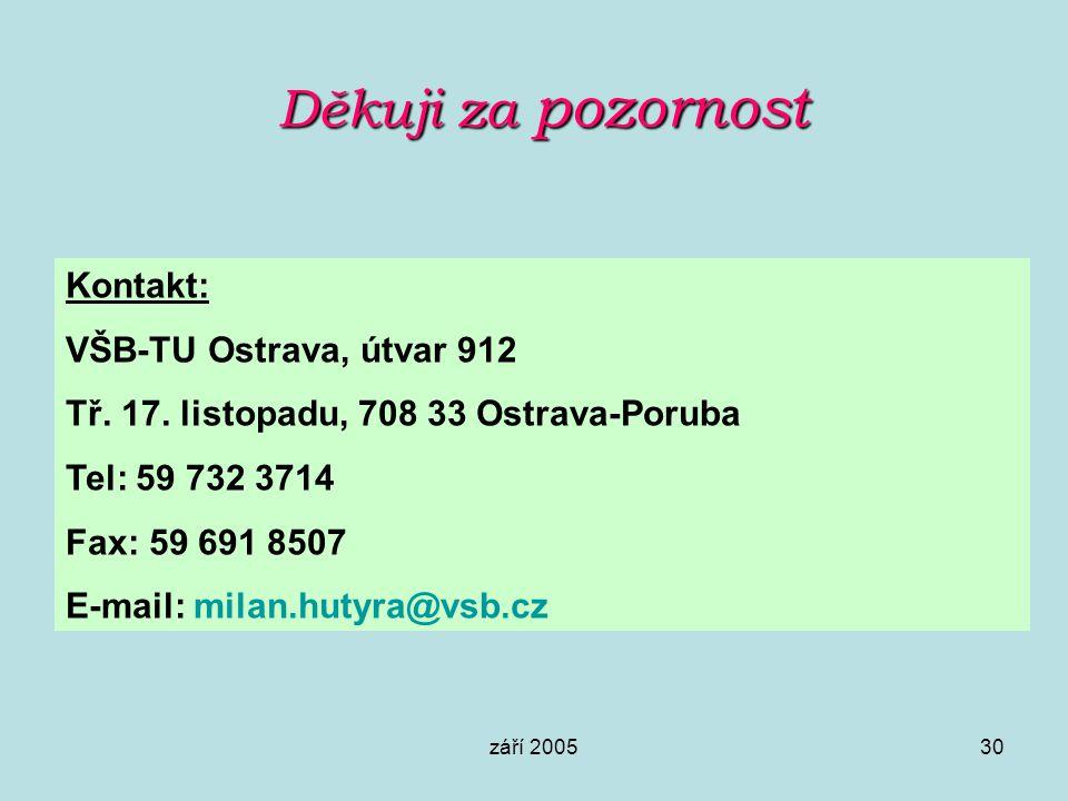 září 200530 Děkuji za pozornost Kontakt: VŠB-TU Ostrava, útvar 912 Tř. 17. listopadu, 708 33 Ostrava-Poruba Tel: 59 732 3714 Fax: 59 691 8507 E-mail: