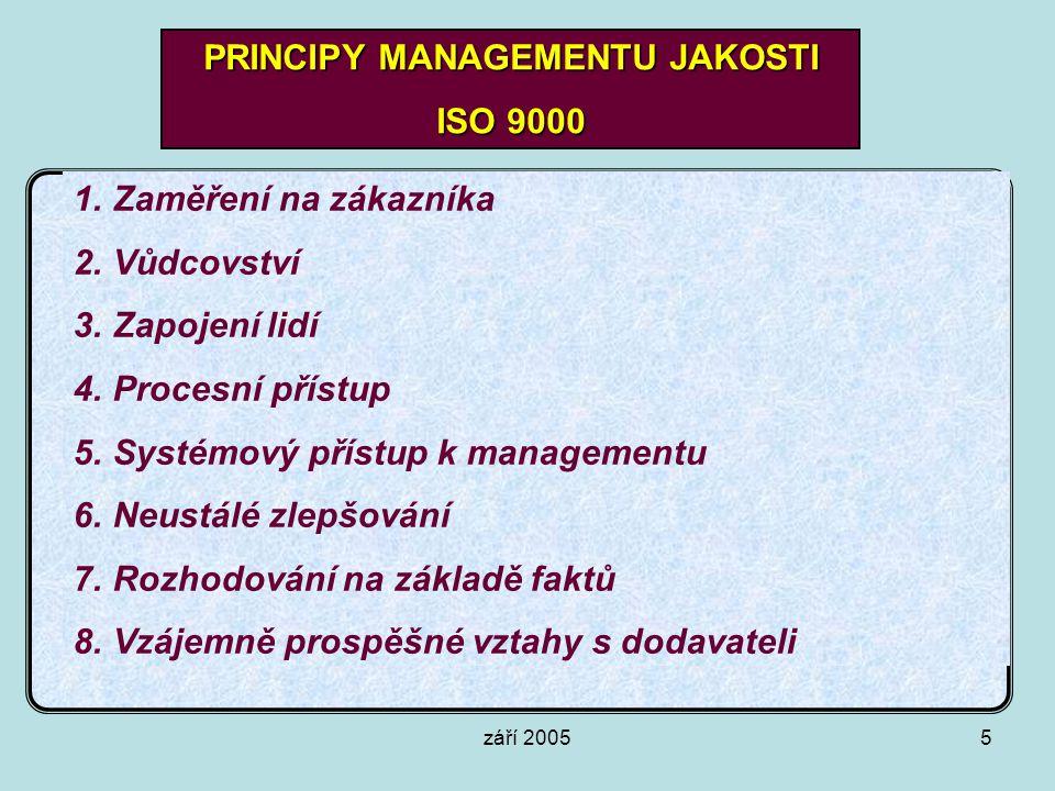 září 20055 PRINCIPY MANAGEMENTU JAKOSTI ISO 9000 1.Zaměření na zákazníka 2.Vůdcovství 3.Zapojení lidí 4.Procesní přístup 5.Systémový přístup k managem