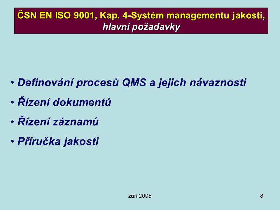 září 20058 ČSN EN ISO 9001, Kap. 4-Systém managementu jakosti, hlavní požadavky Definování procesů QMS a jejich návaznosti Řízení dokumentů Řízení záz