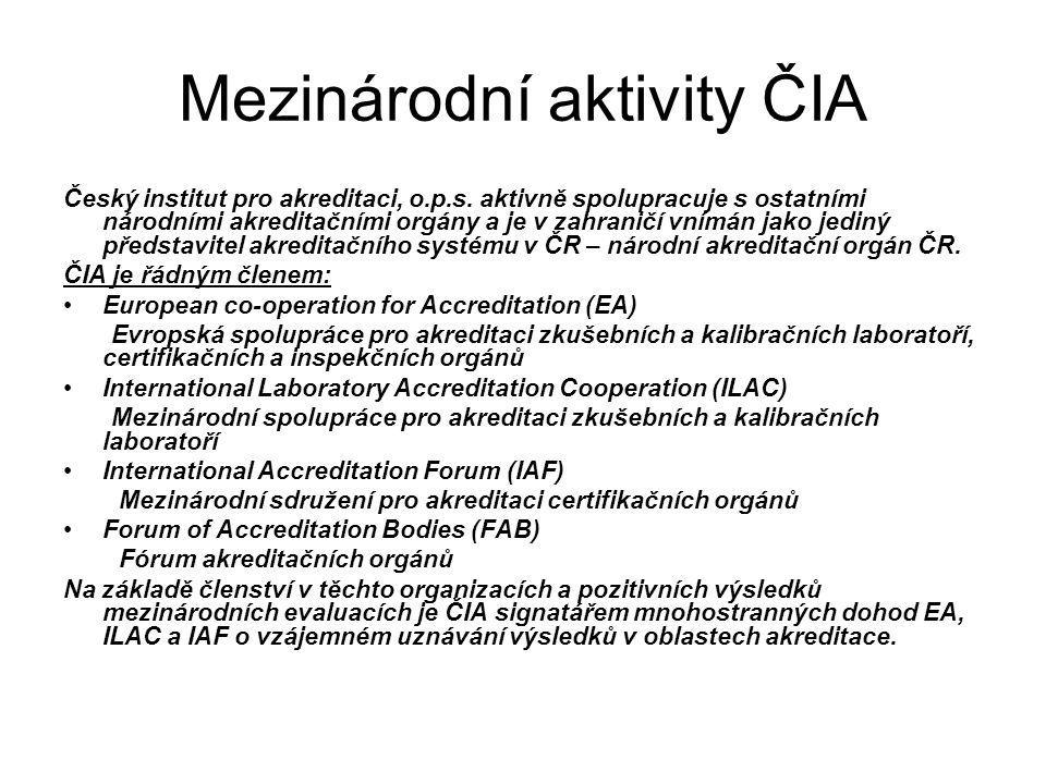 Mezinárodní aktivity ČIA Český institut pro akreditaci, o.p.s. aktivně spolupracuje s ostatními národními akreditačními orgány a je v zahraničí vnímán