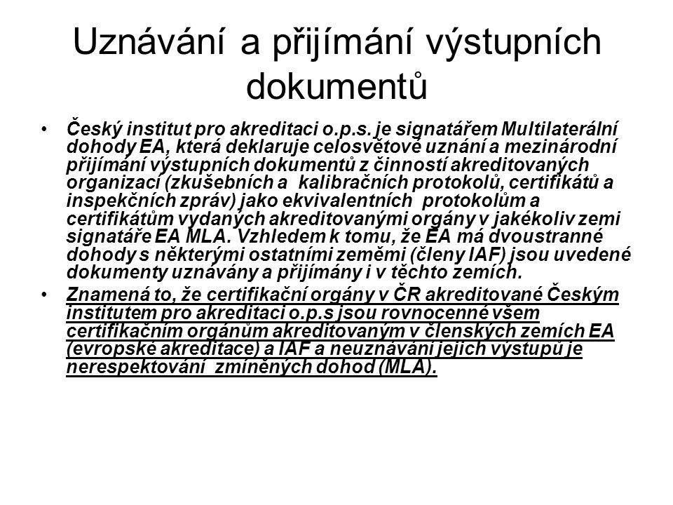 Uznávání a přijímání výstupních dokumentů Český institut pro akreditaci o.p.s. je signatářem Multilaterální dohody EA, která deklaruje celosvětové uzn