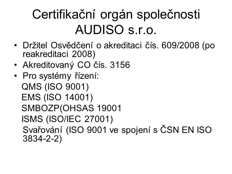 Certifikační orgán společnosti AUDISO s.r.o. Držitel Osvědčení o akreditaci čís. 609/2008 (po reakreditaci 2008) Akreditovaný CO čís. 3156 Pro systémy