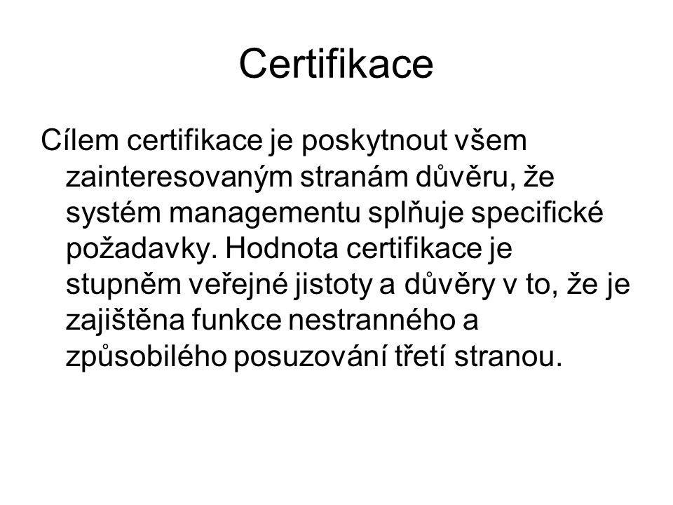 Certifikace Cílem certifikace je poskytnout všem zainteresovaným stranám důvěru, že systém managementu splňuje specifické požadavky.