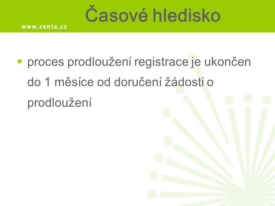 Časové hledisko  proces prodloužení registrace je ukončen do 1 měsíce od doručení žádosti o prodloužení