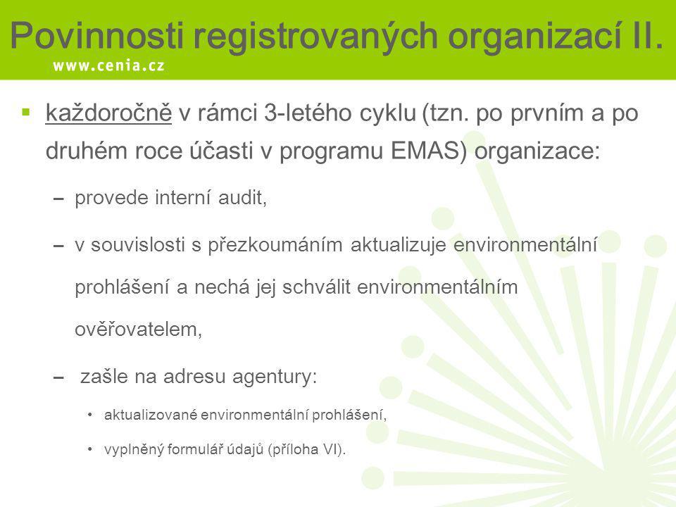 Povinnosti registrovaných organizací II.  každoročně v rámci 3-letého cyklu (tzn. po prvním a po druhém roce účasti v programu EMAS) organizace: –pro