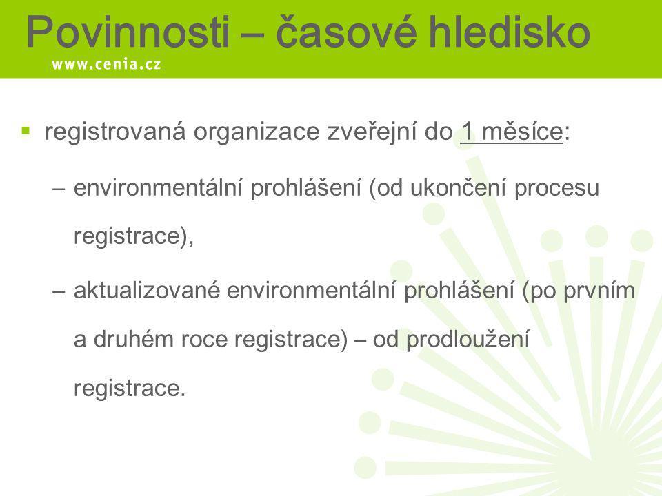 Povinnosti – časové hledisko  registrovaná organizace zveřejní do 1 měsíce: –environmentální prohlášení (od ukončení procesu registrace), –aktualizov