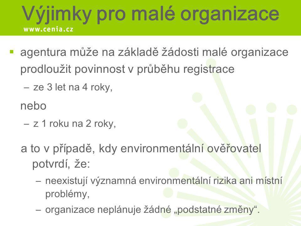Výjimky pro malé organizace  agentura může na základě žádosti malé organizace prodloužit povinnost v průběhu registrace –ze 3 let na 4 roky, nebo –z