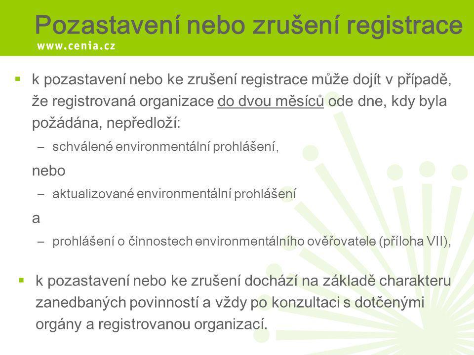 Pozastavení nebo zrušení registrace  k pozastavení nebo ke zrušení registrace může dojít v případě, že registrovaná organizace do dvou měsíců ode dne