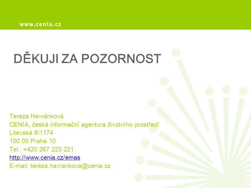 DĚKUJI ZA POZORNOST Tereza Havránková CENIA, česká informační agentura životního prostředí Litevská 8/1174 100 05 Praha 10 Tel.: +420 267 225 221 http