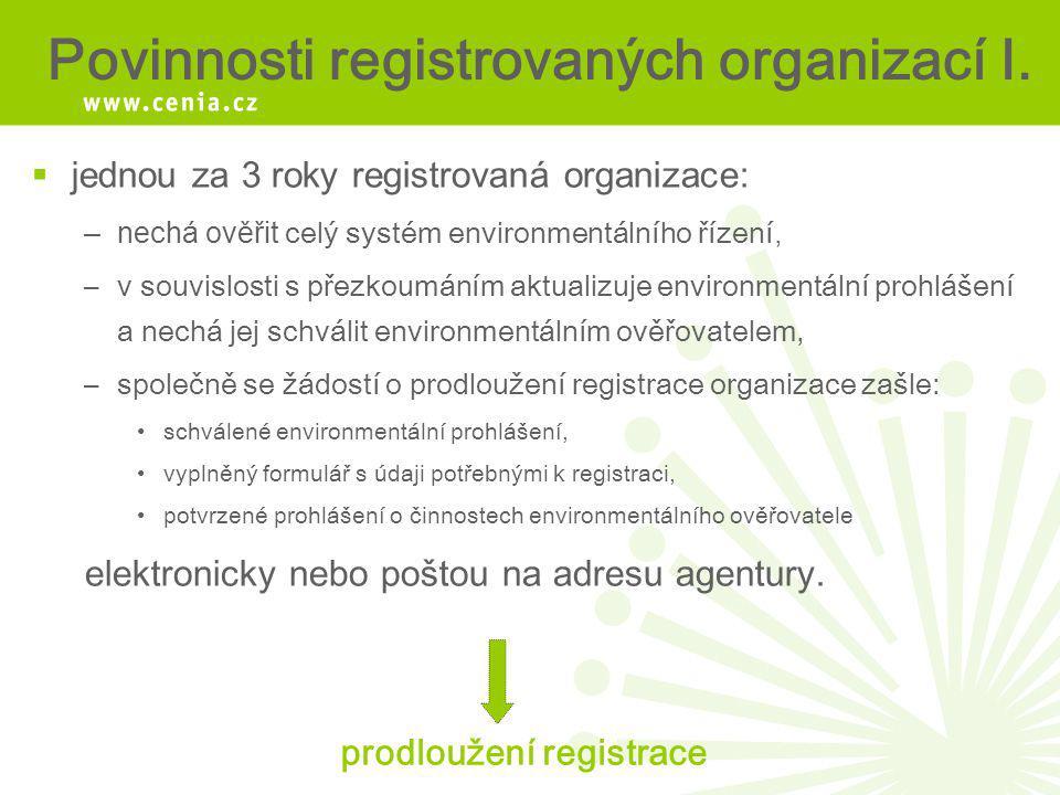 Povinnosti registrovaných organizací I.  jednou za 3 roky registrovaná organizace: –nechá ověřit celý systém environmentálního řízení, –v souvislosti