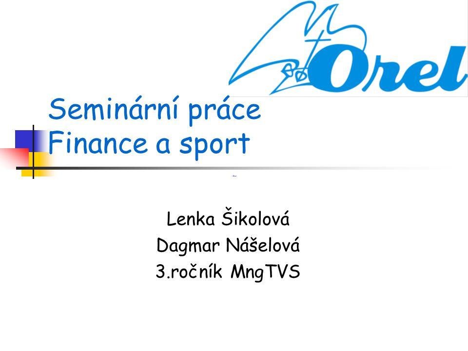 Seminární práce Finance a sport Lenka Šikolová Dagmar Nášelová 3.ročník MngTVS