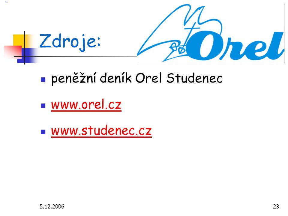 5.12.200623 Zdroje: peněžní deník Orel Studenec www.orel.cz www.studenec.cz