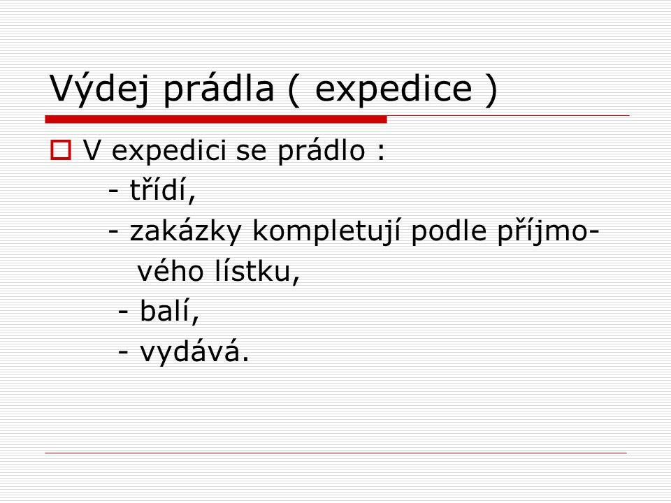 Výdej prádla ( expedice )  V expedici se prádlo : - třídí, - zakázky kompletují podle příjmo- vého lístku, - balí, - vydává.