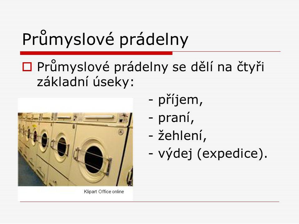 Průmyslové prádelny  Průmyslové prádelny se dělí na čtyři základní úseky: - příjem, - praní, - žehlení, - výdej (expedice). Klipart Office online
