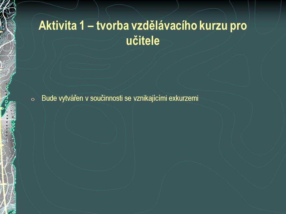 Aktivita 1 – tvorba vzdělávacího kurzu pro učitele o Bude vytvářen v součinnosti se vznikajícími exkurzemi