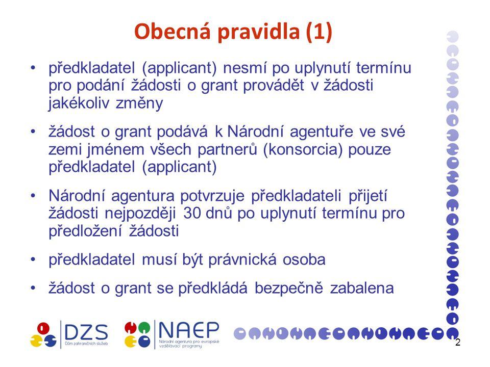 2 Obecná pravidla (1) předkladatel (applicant) nesmí po uplynutí termínu pro podání žádosti o grant provádět v žádosti jakékoliv změny žádost o grant podává k Národní agentuře ve své zemi jménem všech partnerů (konsorcia) pouze předkladatel (applicant) Národní agentura potvrzuje předkladateli přijetí žádosti nejpozději 30 dnů po uplynutí termínu pro předložení žádosti předkladatel musí být právnická osoba žádost o grant se předkládá bezpečně zabalena