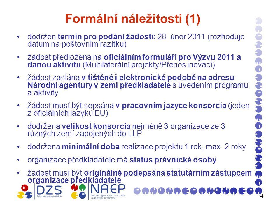 5 Formální náležitosti (2) žádost obsahuje detailní rozpočet projektu v EUR: a) detailní rozpis v jednotlivých kategoriích nákladů (rozpočtových položkách) b) celkový rozpočet projektu c) požadovaný grant, max.