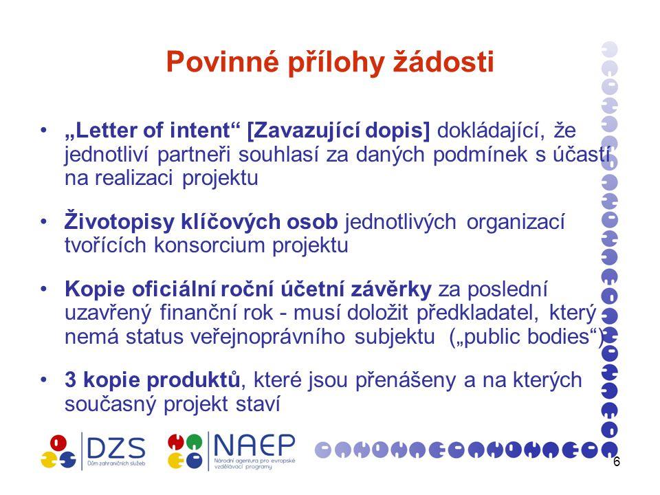 7 Letter of Intent (Zavazující dopis) (1) na originálním hlavičkovém papíře partnerské organizace podepsaný statutárním zástupcem partnerské organizace (dále obsahuje jeho jméno a příjmení tiskacími písmeny, pozici, datum, popř.