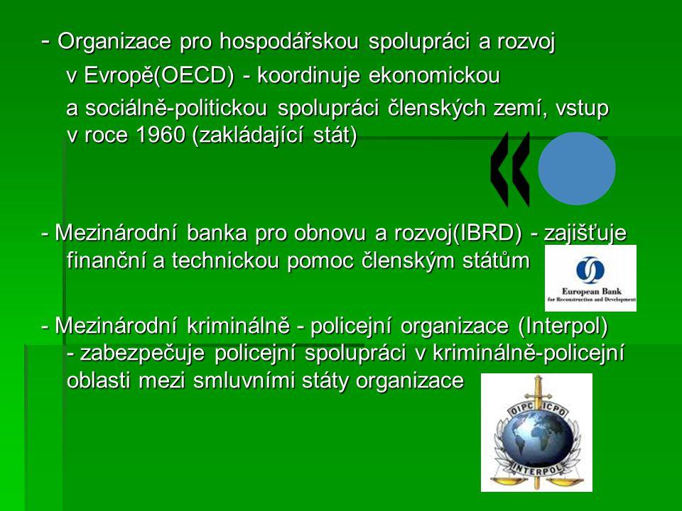 -Organizace spojených národů(OSN) - cílem OSN je zachování mezinárodního míru, bezpečnosti a zajištění mezinárodní spolupráce, vstup v 1971 -Rada Evropy(RE) – zaručuje demokracii, základní lidská práva a svobodu pro své občany, vstup v 1949 -Organizace pro bezpečnost a spolupráci v Evropě(OBSE) – udržuje bezpečnost v členský státech