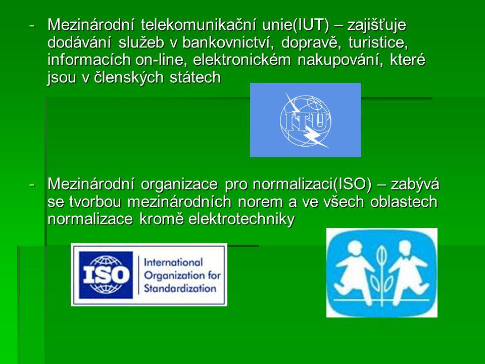 - Organizace pro hospodářskou spolupráci a rozvoj v Evropě(OECD) - koordinuje ekonomickou v Evropě(OECD) - koordinuje ekonomickou a sociálně-politickou spolupráci členských zemí, vstup v roce 1960 (zakládající stát) a sociálně-politickou spolupráci členských zemí, vstup v roce 1960 (zakládající stát) - Mezinárodní banka pro obnovu a rozvoj(IBRD) - zajišťuje finanční a technickou pomoc členským státům - Mezinárodní kriminálně - policejní organizace (Interpol) - zabezpečuje policejní spolupráci v kriminálně-policejní oblasti mezi smluvními státy organizace