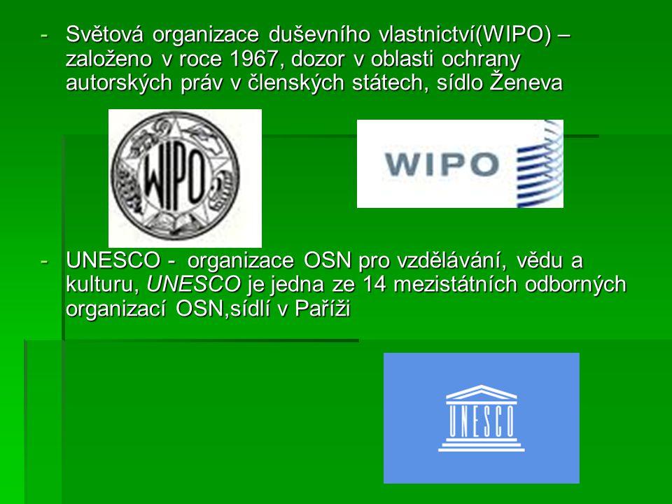 -Mezinárodní telekomunikační unie(IUT) – zajišťuje dodávání služeb v bankovnictví, dopravě, turistice, informacích on-line, elektronickém nakupování, které jsou v členských státech -Mezinárodní organizace pro normalizaci(ISO) – zabývá se tvorbou mezinárodních norem a ve všech oblastech normalizace kromě elektrotechniky