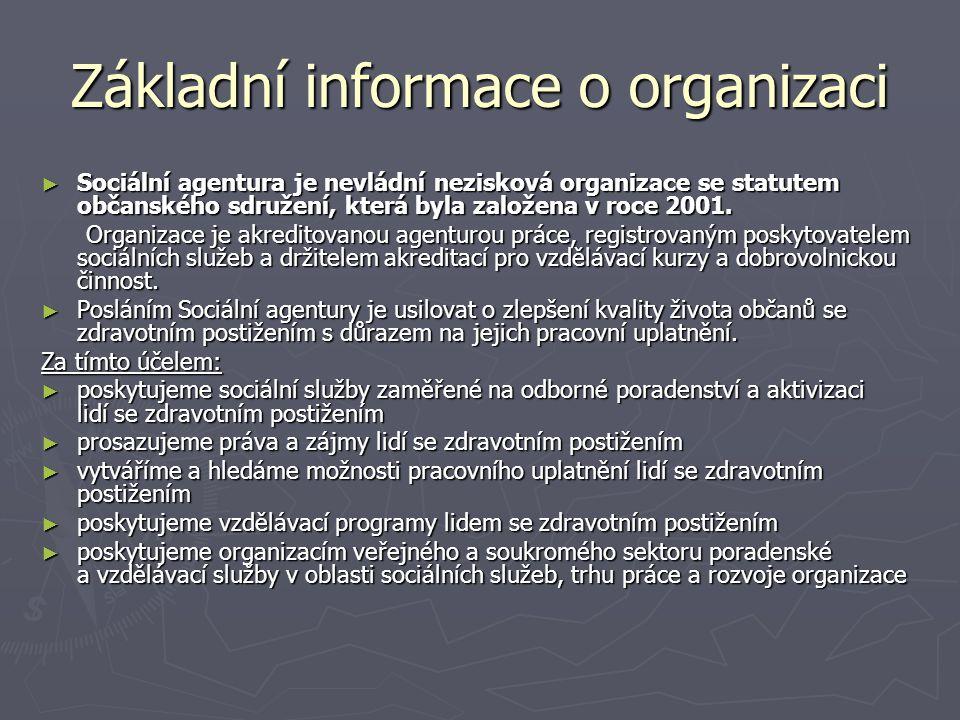 Základní informace o organizaci ► Sociální agentura je nevládní nezisková organizace se statutem občanského sdružení, která byla založena v roce 2001.