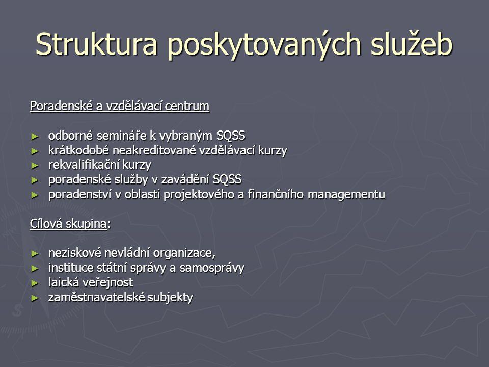 Struktura poskytovaných služeb Poradenské a vzdělávací centrum ► odborné semináře k vybraným SQSS ► krátkodobé neakreditované vzdělávací kurzy ► rekva
