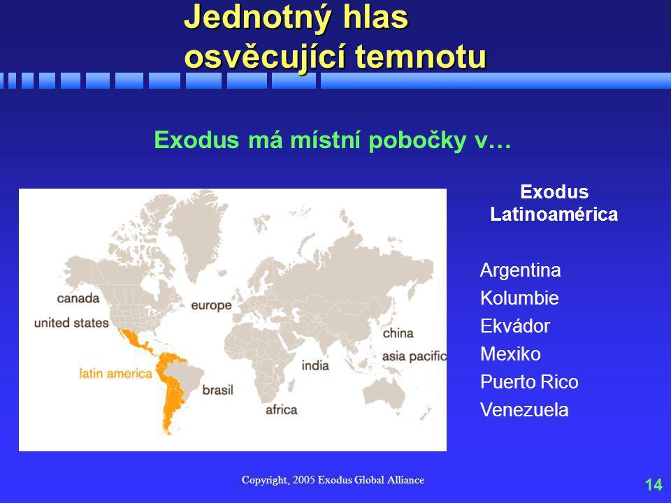 Copyright, 2005 Exodus Global Alliance 14 Jednotný hlas osvěcující temnotu Exodus má místní pobočky v… Exodus Latinoamérica Argentina Kolumbie Ekvádor Mexiko Puerto Rico Venezuela