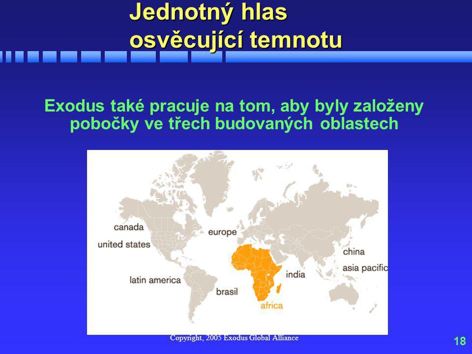 Copyright, 2005 Exodus Global Alliance 18 Jednotný hlas osvěcující temnotu Exodus také pracuje na tom, aby byly založeny pobočky ve třech budovaných oblastech
