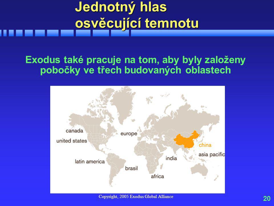 Copyright, 2005 Exodus Global Alliance 20 Jednotný hlas osvěcující temnotu Exodus také pracuje na tom, aby byly založeny pobočky ve třech budovaných oblastech