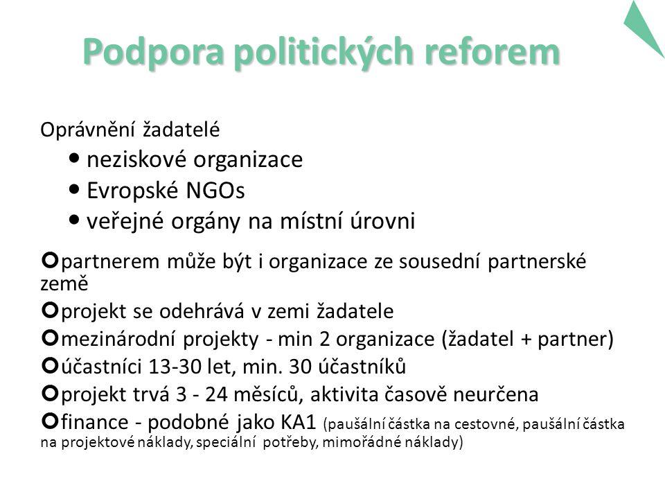 Podpora politických reforem Oprávnění žadatelé neziskové organizace Evropské NGOs veřejné orgány na místní úrovni partnerem může být i organizace ze sousední partnerské země projekt se odehrává v zemi žadatele mezinárodní projekty - min 2 organizace (žadatel + partner) účastníci 13-30 let, min.