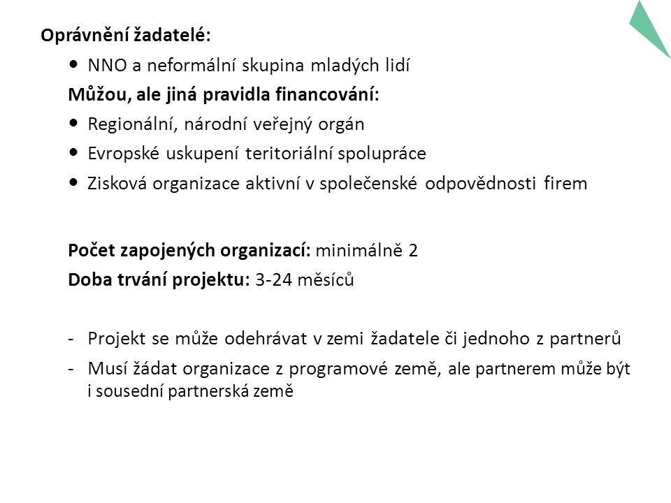 Oprávnění žadatelé: NNO a neformální skupina mladých lidí Můžou, ale jiná pravidla financování: Regionální, národní veřejný orgán Evropské uskupení teritoriální spolupráce Zisková organizace aktivní v společenské odpovědnosti firem Počet zapojených organizací: minimálně 2 Doba trvání projektu: 3-24 měsíců -Projekt se může odehrávat v zemi žadatele či jednoho z partnerů -Musí žádat organizace z programové země, ale partnerem může být i sousední partnerská země 8