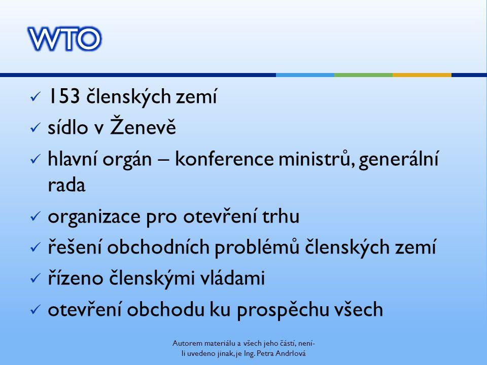 153 členských zemí sídlo v Ženevě hlavní orgán – konference ministrů, generální rada organizace pro otevření trhu řešení obchodních problémů členských zemí řízeno členskými vládami otevření obchodu ku prospěchu všech Autorem materiálu a všech jeho částí, není- li uvedeno jinak, je Ing.