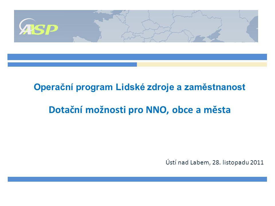 Operační program Lidské zdroje a zaměstnanost Dotační možnosti pro NNO, obce a města Ústí nad Labem, 28.
