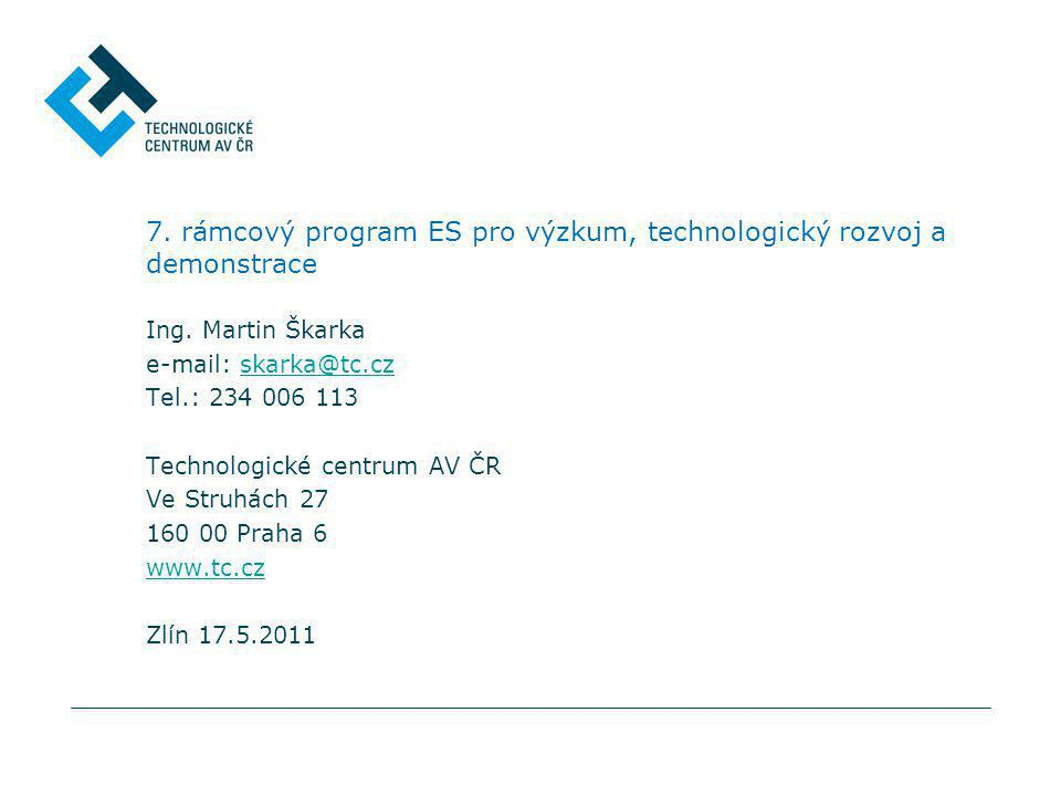 7. rámcový program ES pro výzkum, technologický rozvoj a demonstrace Ing. Martin Škarka e-mail: skarka@tc.czskarka@tc.cz Tel.: 234 006 113 Technologic