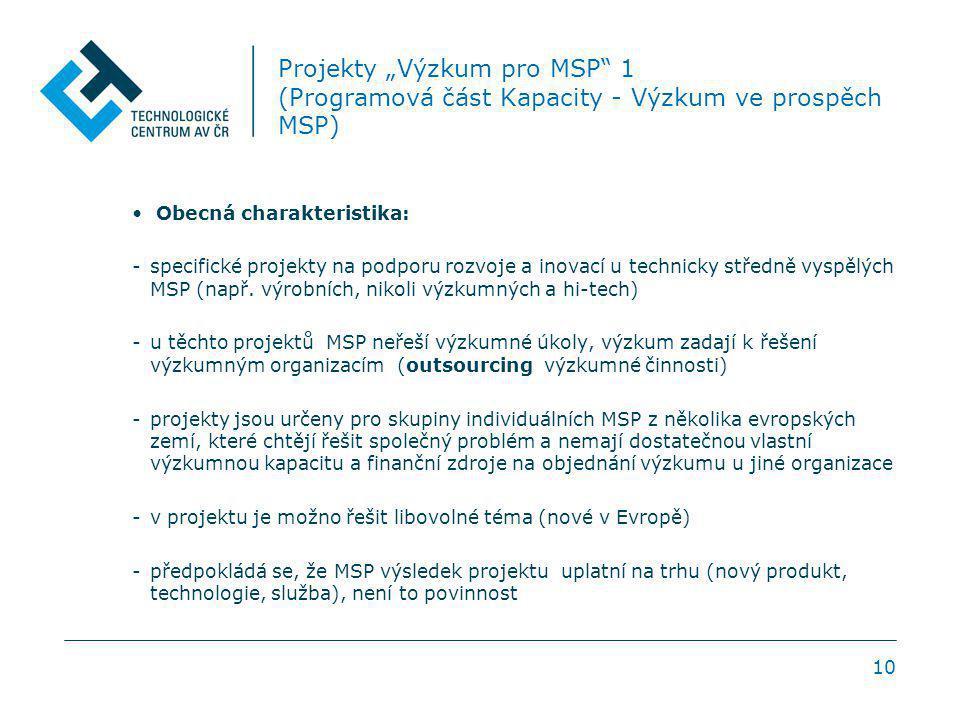 """10 Projekty """"Výzkum pro MSP 1 (Programová část Kapacity - Výzkum ve prospěch MSP) Obecná charakteristika: -specifické projekty na podporu rozvoje a inovací u technicky středně vyspělých MSP (např."""