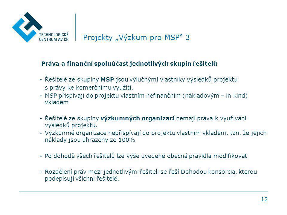 """12 Projekty """"Výzkum pro MSP 3 Práva a finanční spoluúčast jednotlivých skupin řešitelů -Řešitelé ze skupiny MSP jsou výlučnými vlastníky výsledků projektu s právy ke komerčnímu využití."""