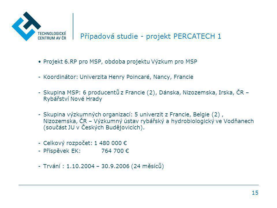 15 Případová studie - projekt PERCATECH 1 Projekt 6.RP pro MSP, obdoba projektu Výzkum pro MSP -Koordinátor: Univerzita Henry Poincaré, Nancy, Francie