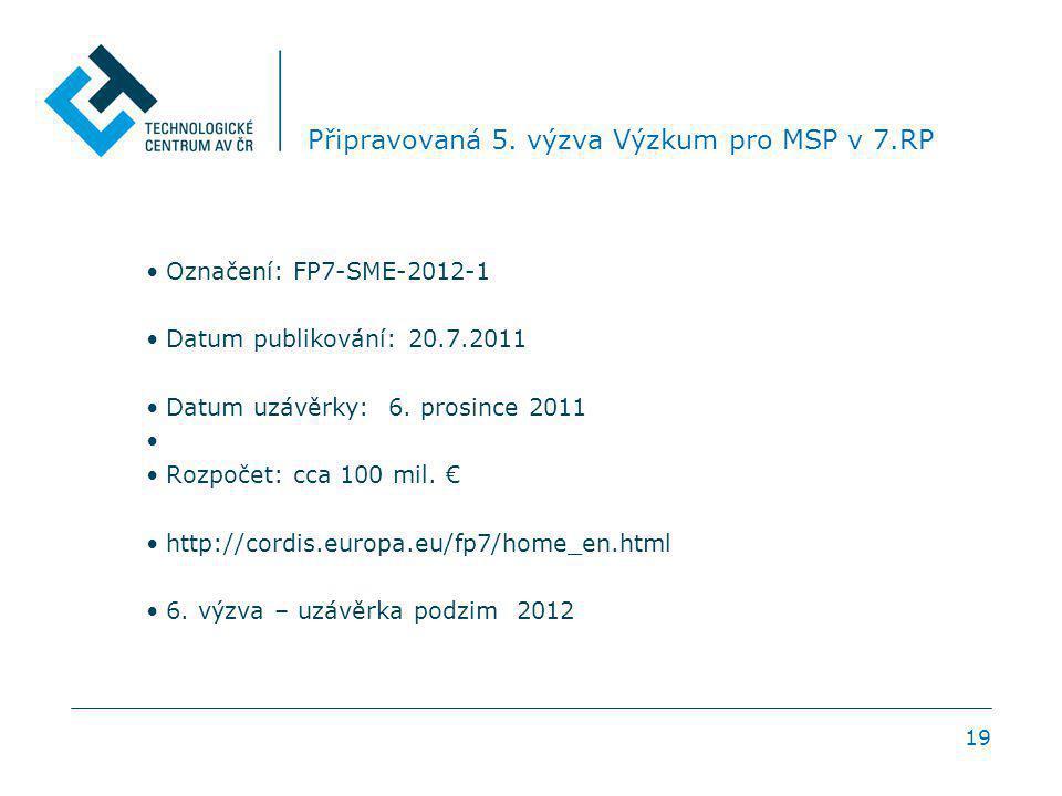 19 Připravovaná 5. výzva Výzkum pro MSP v 7.RP Označení: FP7-SME-2012-1 Datum publikování: 20.7.2011 Datum uzávěrky: 6. prosince 2011 Rozpočet: cca 10