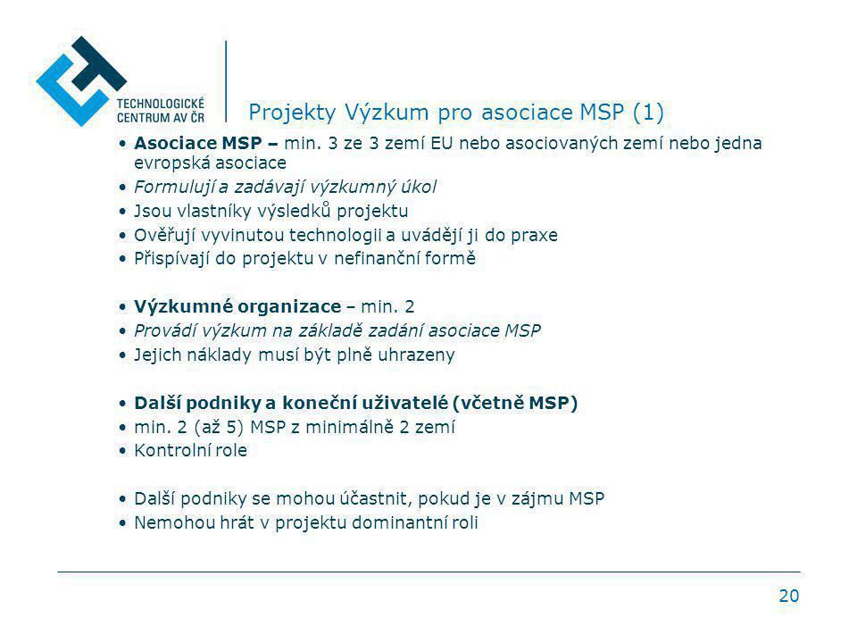 20 Projekty Výzkum pro asociace MSP (1) Asociace MSP – min. 3 ze 3 zemí EU nebo asociovaných zemí nebo jedna evropská asociace Formulují a zadávají vý