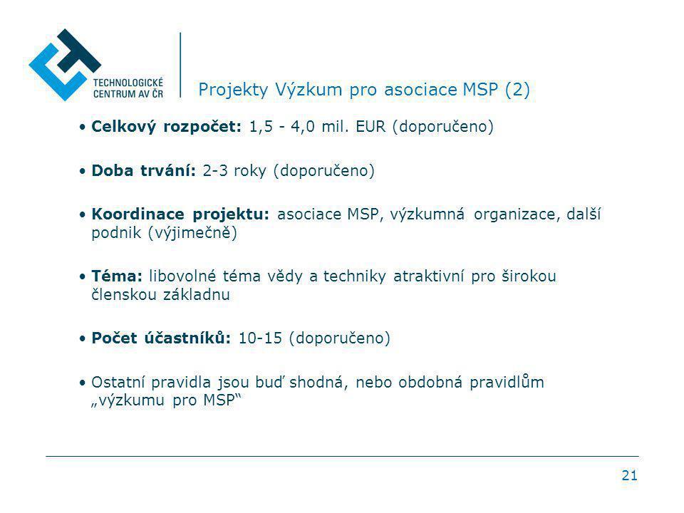 21 Projekty Výzkum pro asociace MSP (2) Celkový rozpočet: 1,5 - 4,0 mil. EUR (doporučeno) Doba trvání: 2-3 roky (doporučeno) Koordinace projektu: asoc