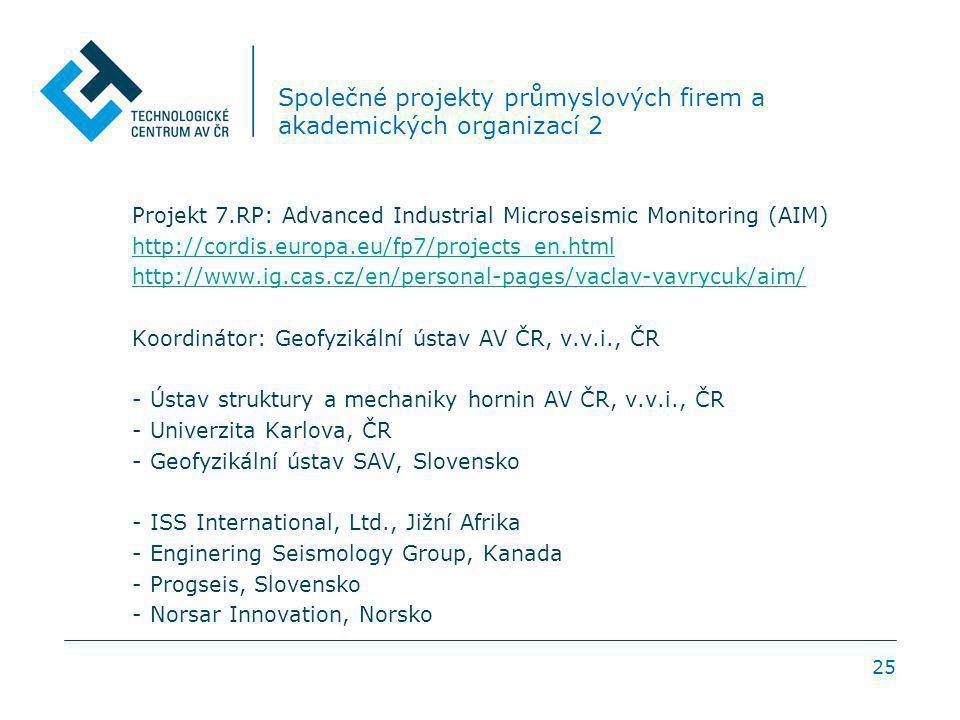 25 Společné projekty průmyslových firem a akademických organizací 2 Projekt 7.RP: Advanced Industrial Microseismic Monitoring (AIM) http://cordis.euro