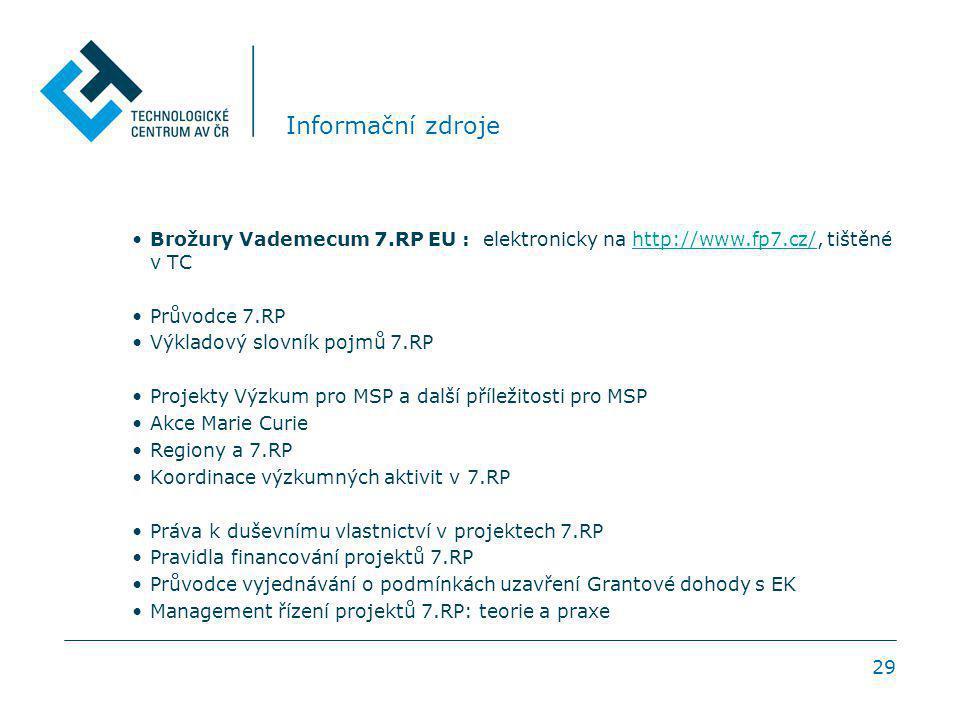 29 Informační zdroje Brožury Vademecum 7.RP EU : elektronicky na http://www.fp7.cz/, tištěné v TChttp://www.fp7.cz/ Průvodce 7.RP Výkladový slovník pojmů 7.RP Projekty Výzkum pro MSP a další příležitosti pro MSP Akce Marie Curie Regiony a 7.RP Koordinace výzkumných aktivit v 7.RP Práva k duševnímu vlastnictví v projektech 7.RP Pravidla financování projektů 7.RP Průvodce vyjednávání o podmínkách uzavření Grantové dohody s EK Management řízení projektů 7.RP: teorie a praxe