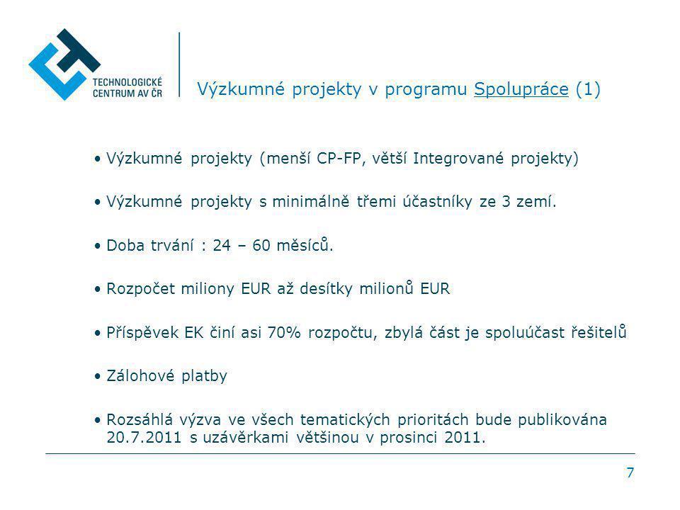 7 Výzkumné projekty v programu Spolupráce (1) Výzkumné projekty (menší CP-FP, větší Integrované projekty) Výzkumné projekty s minimálně třemi účastníky ze 3 zemí.