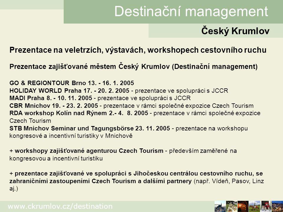 www.ckrumlov.cz/destination Český Krumlov Destinační management Prezentace na veletrzích, výstavách, workshopech cestovního ruchu Prezentace zajišťované městem Český Krumlov (Destinační management) GO & REGIONTOUR Brno 13.