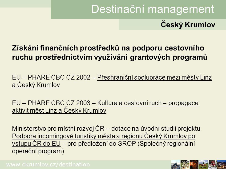 www.ckrumlov.cz/destination Český Krumlov Destinační management Edice Široká veřejnost Kulturní kalendář 2005, Katalog ubytování 2005, Image prospekt (inovace) + event.