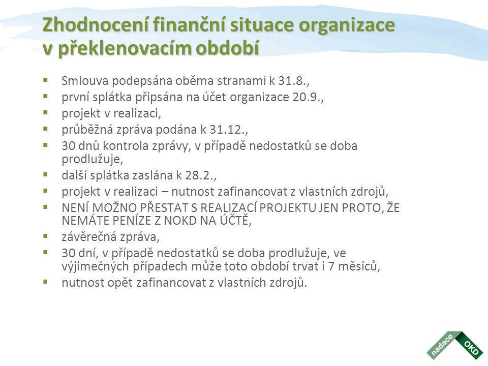 Zhodnocení finanční situace organizace v překlenovacím období  Smlouva podepsána oběma stranami k 31.8.,  první splátka připsána na účet organizace 20.9.,  projekt v realizaci,  průběžná zpráva podána k 31.12.,  30 dnů kontrola zprávy, v případě nedostatků se doba prodlužuje,  další splátka zaslána k 28.2.,  projekt v realizaci – nutnost zafinancovat z vlastních zdrojů,  NENÍ MOŽNO PŘESTAT S REALIZACÍ PROJEKTU JEN PROTO, ŽE NEMÁTE PENÍZE Z NOKD NA ÚČTĚ,  závěrečná zpráva,  30 dní, v případě nedostatků se doba prodlužuje, ve výjimečných případech může toto období trvat i 7 měsíců,  nutnost opět zafinancovat z vlastních zdrojů.