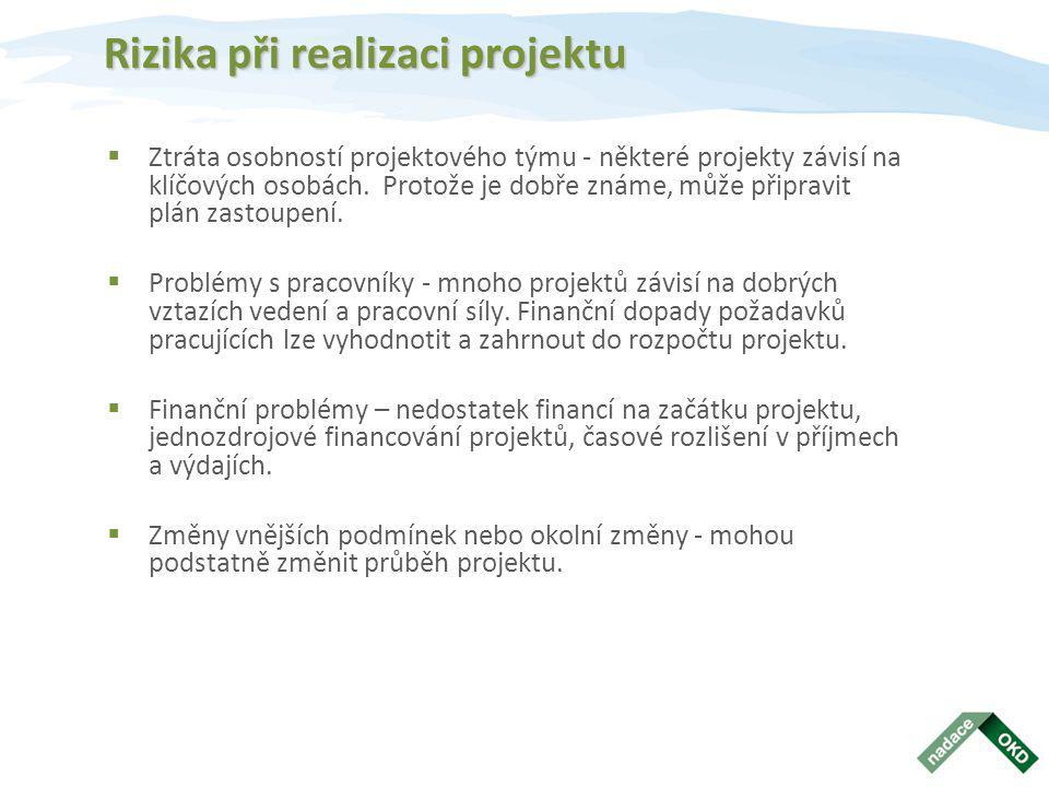 Rizika při realizaci projektu  Ztráta osobností projektového týmu - některé projekty závisí na klíčových osobách.