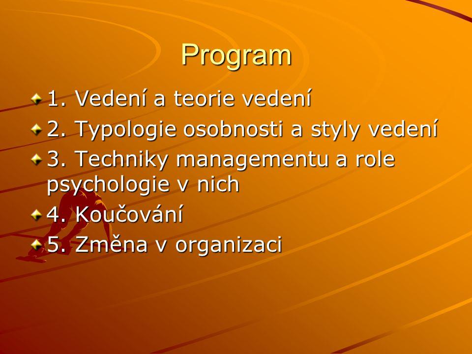 Program 1.Vedení a teorie vedení 2. Typologie osobnosti a styly vedení 3.